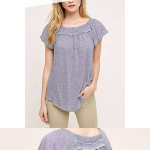 Anthropologie blue and white striped top
